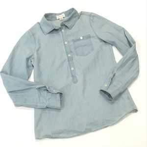 LUCY & LAUREL chambray Henley pullover